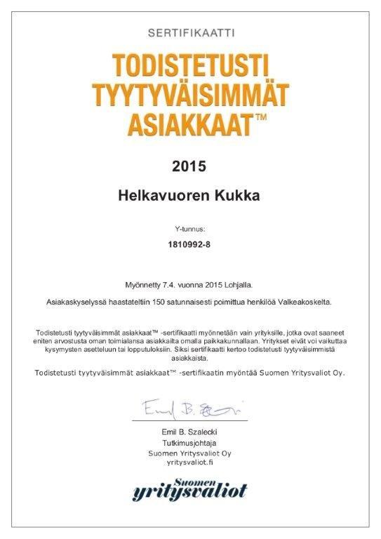 Helkavuoren Kukka A4-sertifikaatti